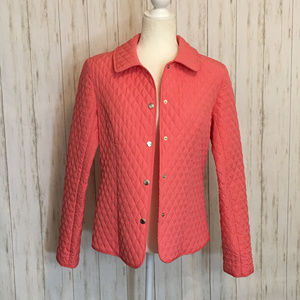 Like New Coral Quilted Button Down Jacket Size 8